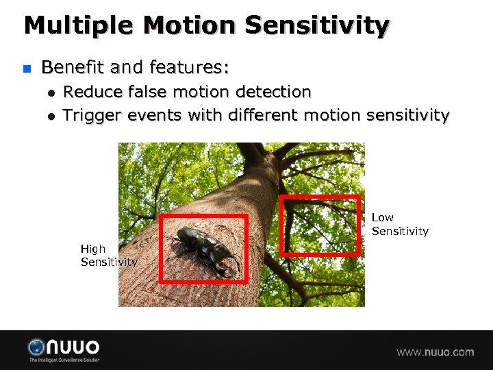 Multiple Motion Sensitivity n Benefit and features: l l Reduce false motion detection Trigger