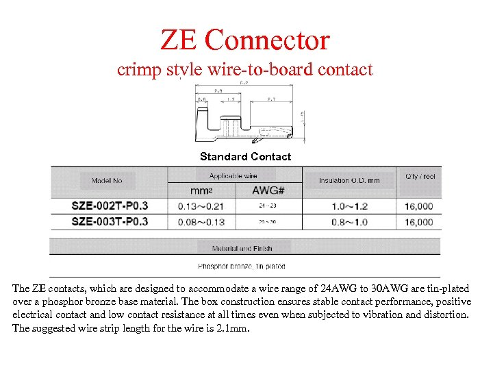 ZE Connector crimp style wire-to-board contact Standard Contact The ZE contacts, which are designed