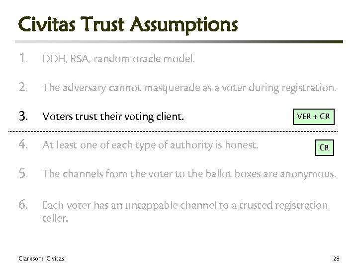 Civitas Trust Assumptions 1. DDH, RSA, random oracle model. 2. The adversary cannot masquerade