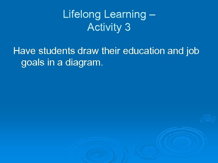 Lifelong Learning – Activity 3 Have students draw their education and job goals in
