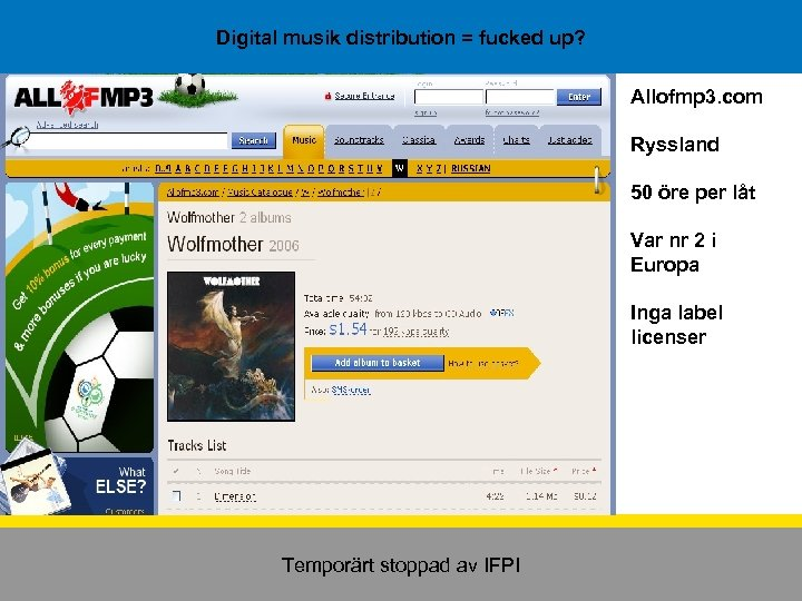Digital musik distribution = fucked up? Allofmp 3. com Ryssland 50 öre per låt