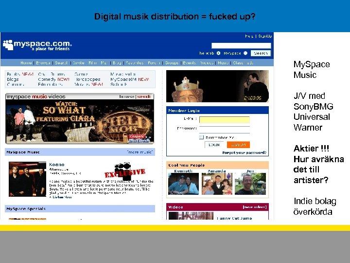 Digital musik distribution = fucked up? My. Space Music J/V med Sony. BMG Universal