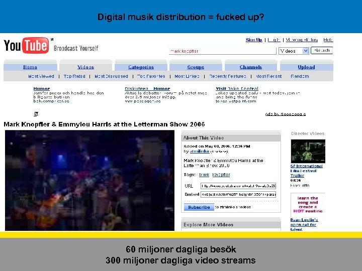 Digital musik distribution = fucked up? 60 miljoner dagliga besök 300 miljoner dagliga video