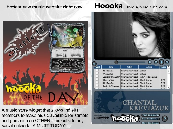 Hottest new music website right now: A music store widget that allows Indie 911