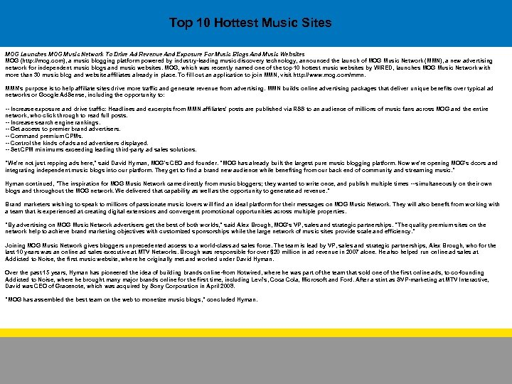 Top 10 Hottest Music Sites MOG Launches MOG Music Network To Drive Ad Revenue