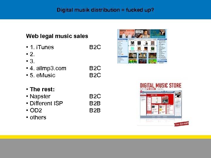 Digital musik distribution = fucked up? Web legal music sales • 1. i. Tunes