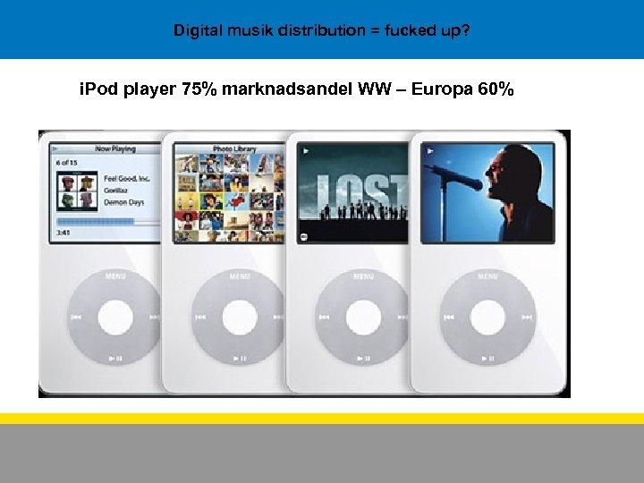 Digital musik distribution = fucked up? i. Pod player 75% marknadsandel WW – Europa