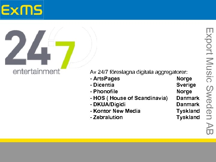 Export Music Sweden AB Av 24/7 föreslagna digitala aggregatorer: - Arts. Pages Norge -