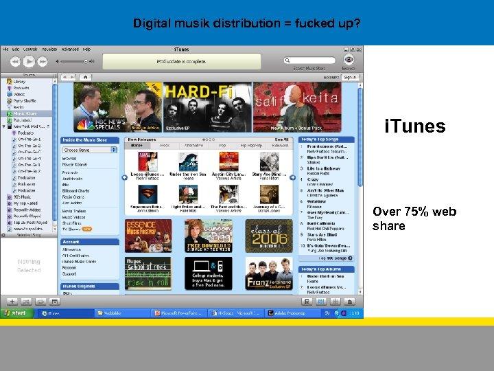 Digital musik distribution = fucked up? i. Tunes Over 75% web share