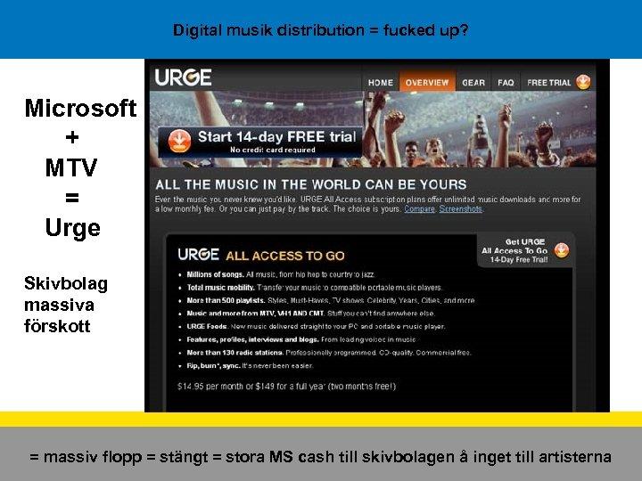 Digital musik distribution = fucked up? Microsoft + MTV = Urge Skivbolag massiva förskott