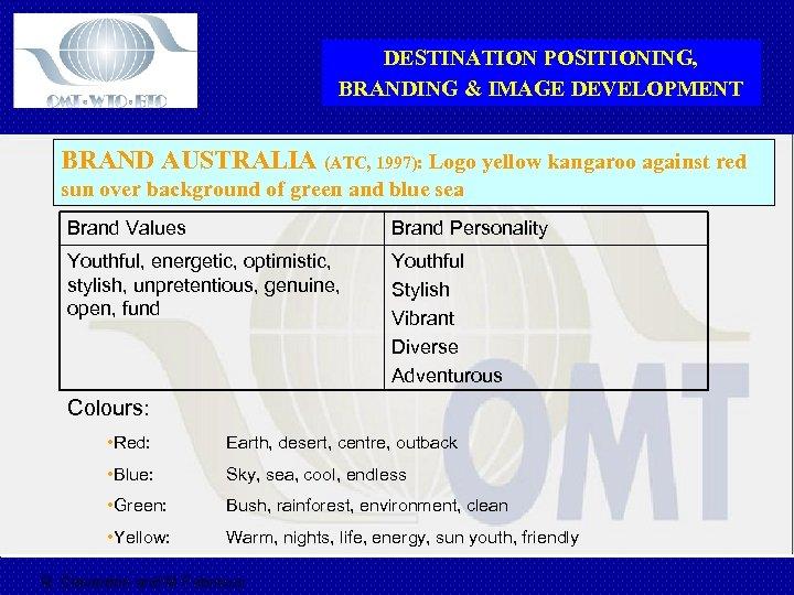 DESTINATION POSITIONING, BRANDING & IMAGE DEVELOPMENT BRAND AUSTRALIA (ATC, 1997): Logo yellow kangaroo against