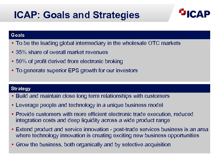 ICAP: Goals and Strategies Goals • To be the leading global intermediary in the