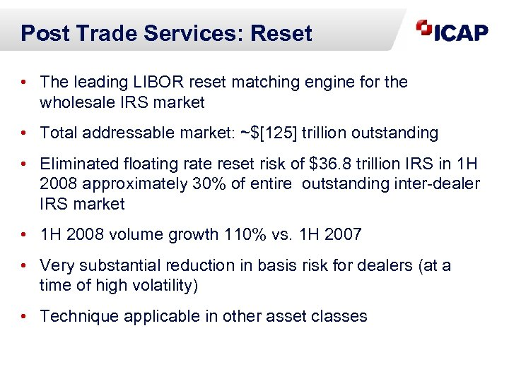 Post Trade Services: Reset • The leading LIBOR reset matching engine for the wholesale