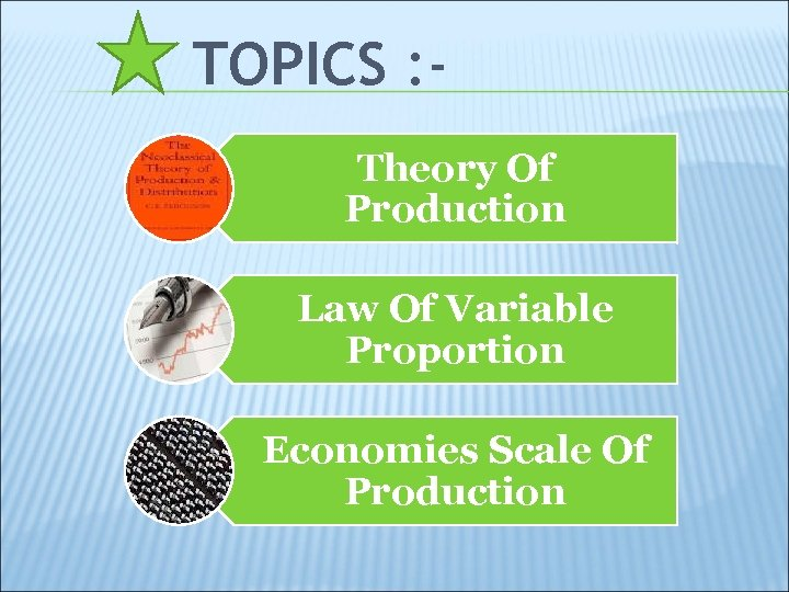 TOPICS : Theory Of Production Law Of Variable Proportion Economies Scale Of Production
