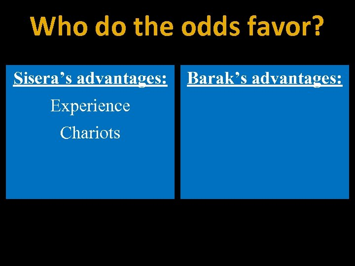 Who do the odds favor? Sisera's advantages: Experience Chariots Barak's advantages: