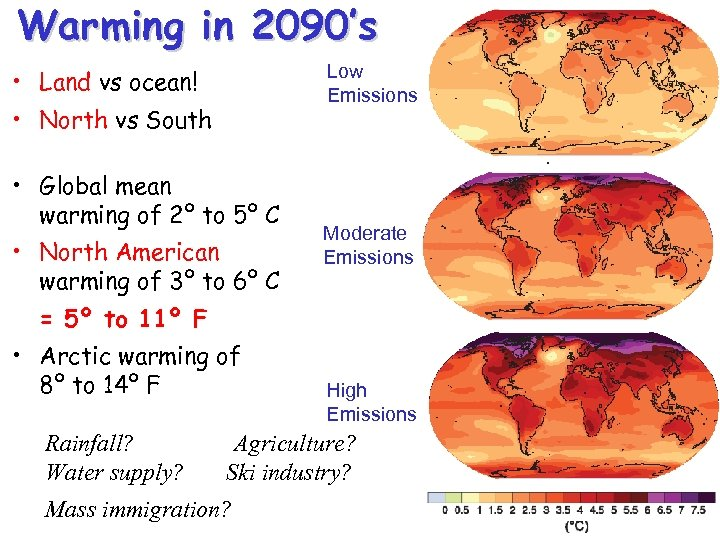 Warming in 2090's Low Emissions • Land vs ocean! • North vs South •