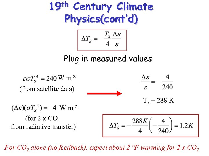 19 th Century Climate Physics(cont'd) Plug in measured values W m-2 (from satellite data)