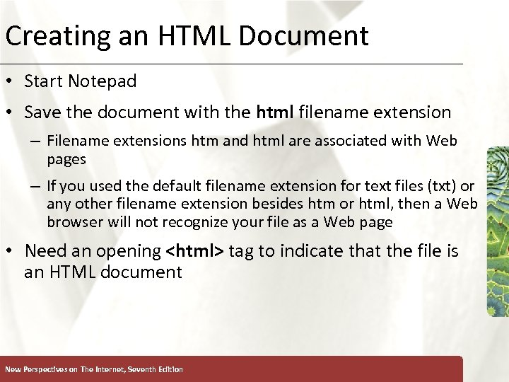 Creating an HTML Document XP • Start Notepad • Save the document with the