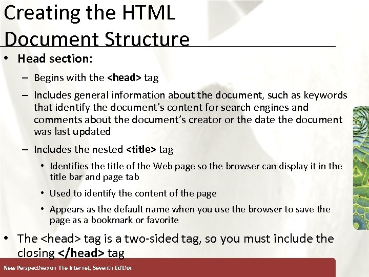 Creating the HTML Document Structure XP • Head section: – Begins with the <head>