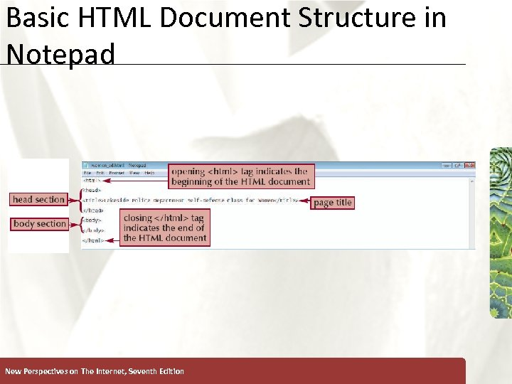 Basic HTML Document Structure in Notepad New Perspectives on The Internet, Seventh Edition XP