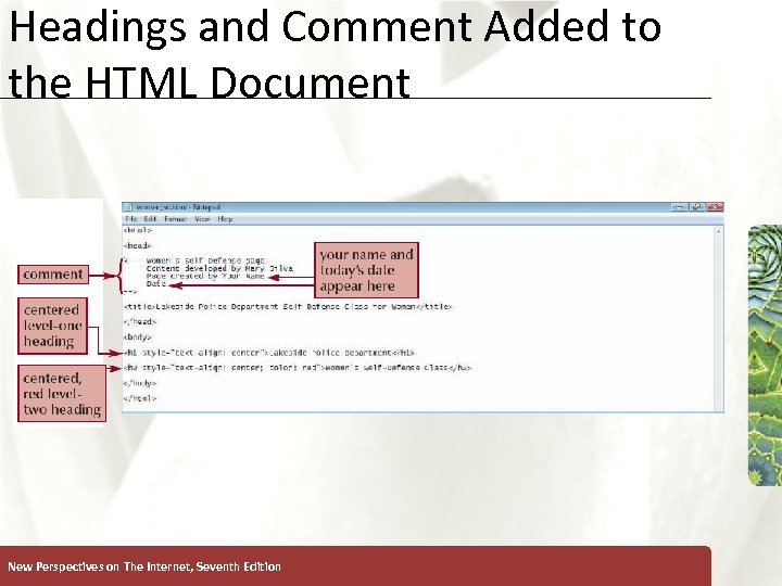 Headings and Comment Added to the HTML Document New Perspectives on The Internet, Seventh
