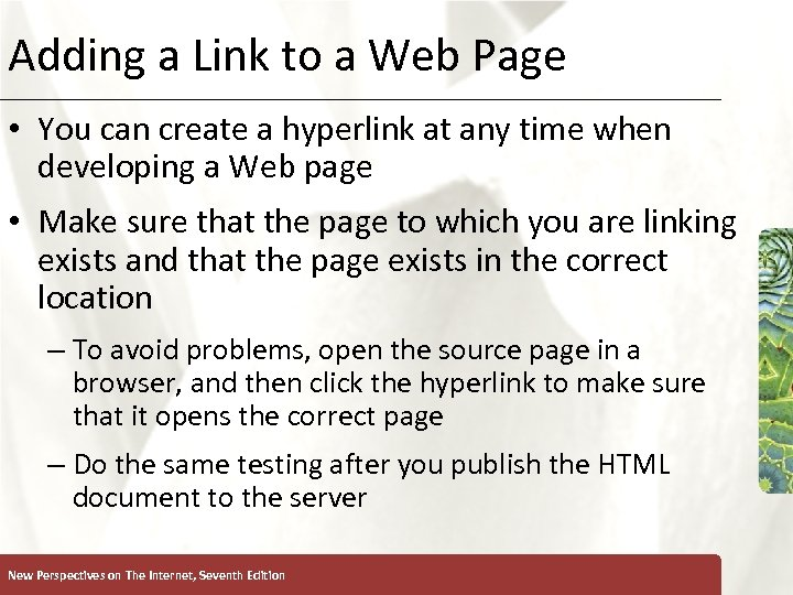 Adding a Link to a Web Page XP • You can create a hyperlink