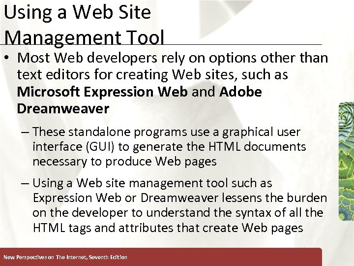Using a Web Site Management Tool XP • Most Web developers rely on options