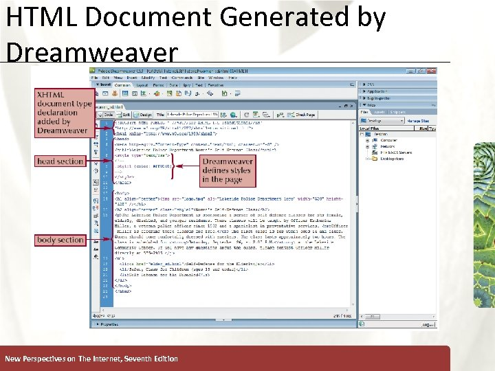 HTML Document Generated by Dreamweaver New Perspectives on The Internet, Seventh Edition XP