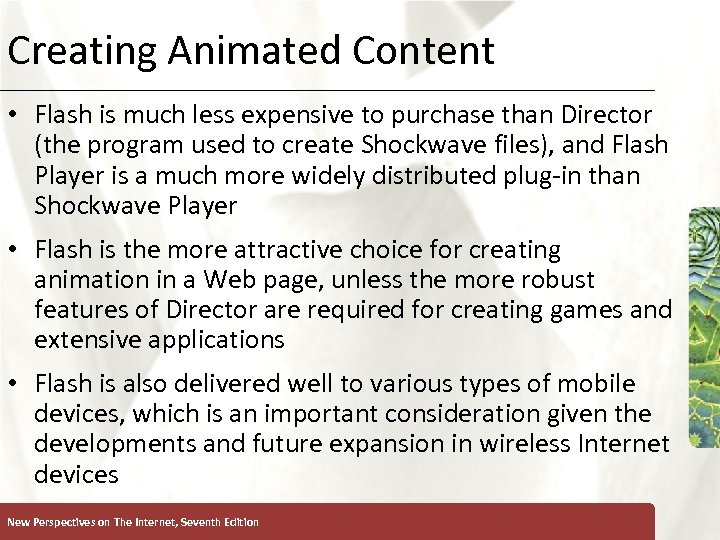 Creating Animated Content XP • Flash is much less expensive to purchase than Director