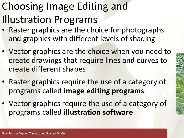 Choosing Image Editing and Illustration Programs XP • Raster graphics are the choice for