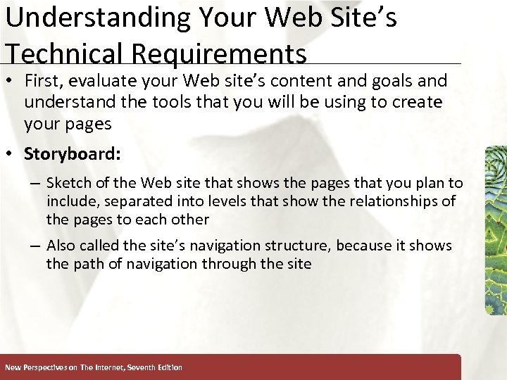 Understanding Your Web Site's Technical Requirements XP • First, evaluate your Web site's content