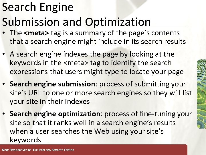 Search Engine Submission and Optimization XP • The <meta> tag is a summary of