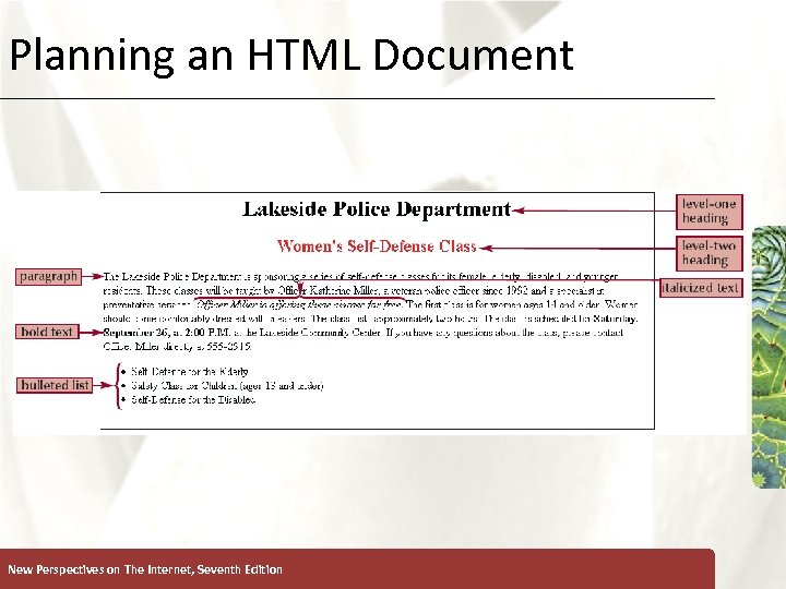 Planning an HTML Document New Perspectives on The Internet, Seventh Edition XP