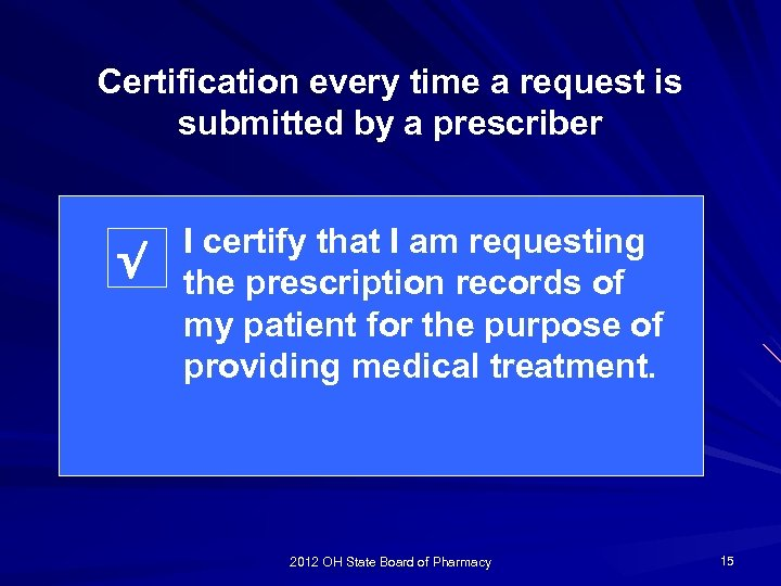 Certification every time a request is submitted by a prescriber √ I certify that