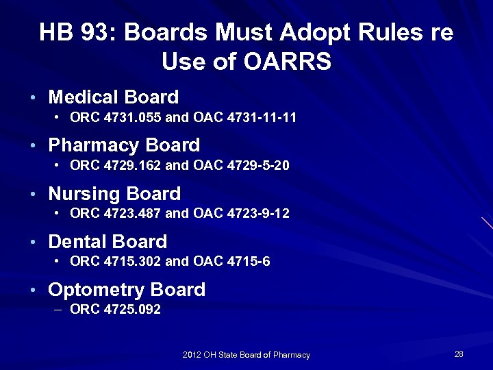 HB 93: Boards Must Adopt Rules re Use of OARRS • Medical Board •
