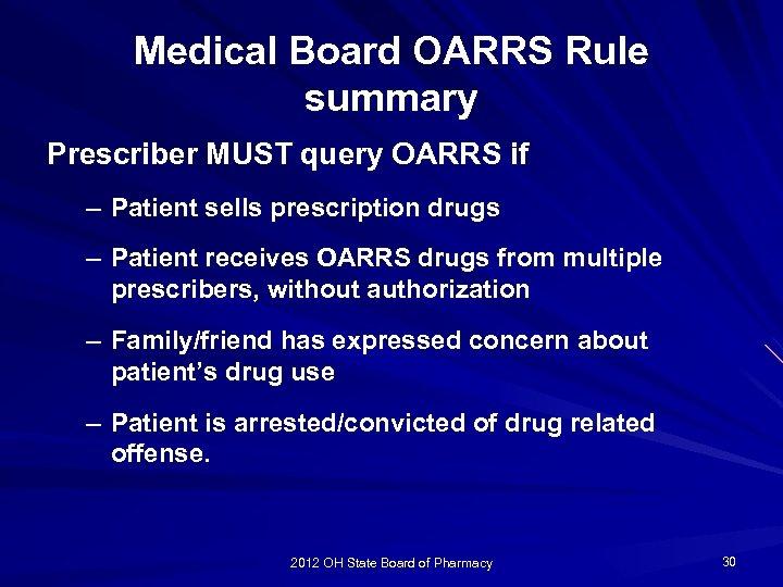 Medical Board OARRS Rule summary Prescriber MUST query OARRS if – Patient sells prescription