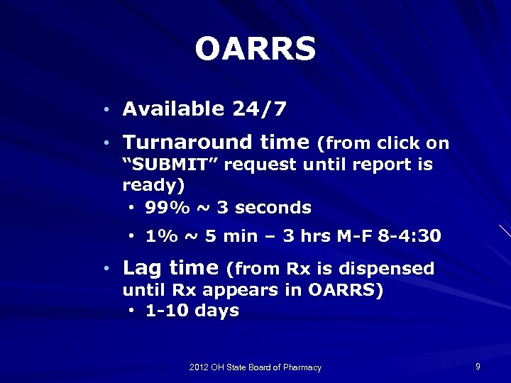"""OARRS • Available 24/7 • Turnaround time (from click on """"SUBMIT"""" request until report"""