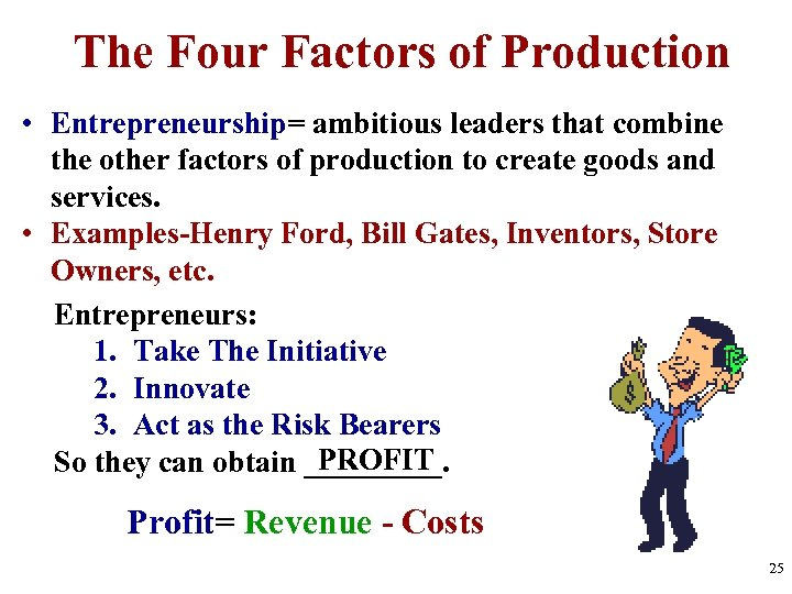 The Four Factors of Production • Entrepreneurship= ambitious leaders that combine the other factors