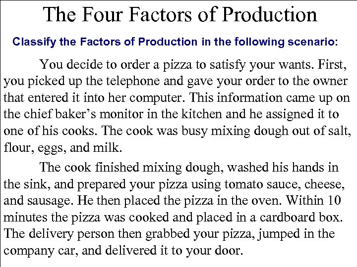 The Four Factors of Production Classify the Factors of Production in the following scenario: