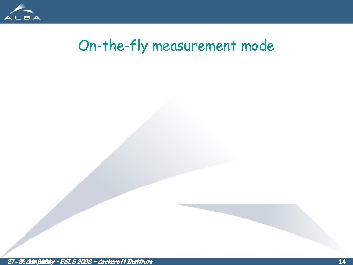 On-the-fly measurement mode 27 -28. 11. 2008 – ESLS 2008 – Cockcroft Institute J.
