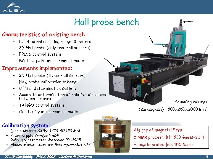 Hall probe bench Characteristics of existing bench: – Longitudinal scanning range: 3 meters –