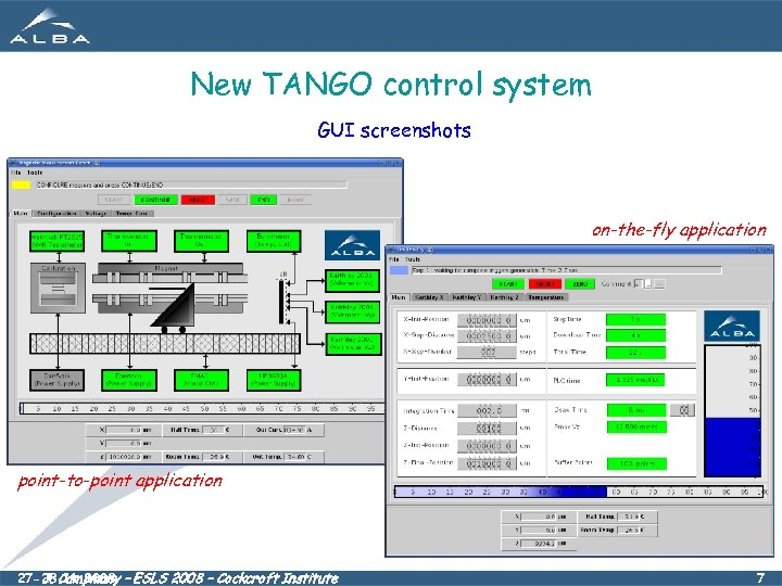 New TANGO control system GUI screenshots on-the-fly application point-to-point application 27 -28. 11. 2008