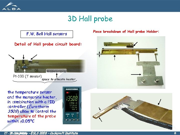 3 D Hall probe F. W. Bell Hall sensors Piece breakdown of Hall probe