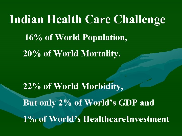 Indian Health Care Challenge 16% of World Population, 20% of World Mortality. 22% of