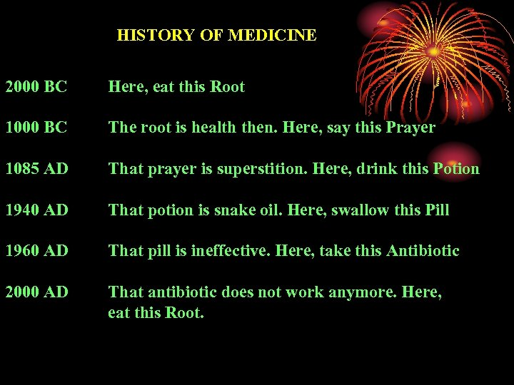 HISTORY OF MEDICINE 2000 BC Here, eat this Root 1000 BC The root is