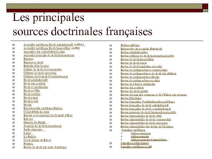 Les principales sources doctrinales françaises o o o o o o o o Actualité