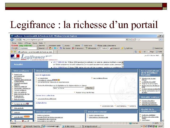 Legifrance : la richesse d'un portail
