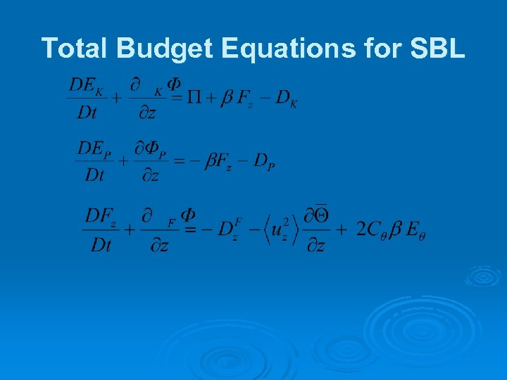 Total Budget Equations for SBL