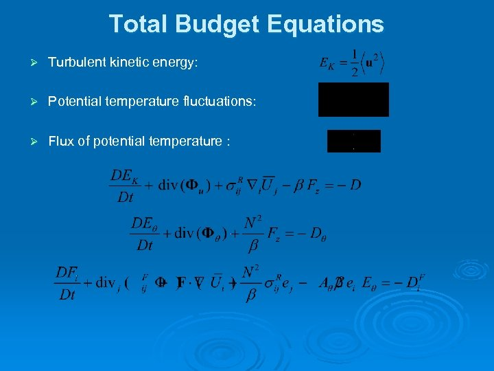 Total Budget Equations Ø Turbulent kinetic energy: Ø Potential temperature fluctuations: Ø Flux of