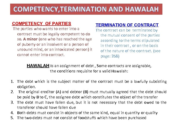 COMPETENCY, TERMINATION AND HAWALAH COMPETENCY OF PARTIES TERMINATION OF CONTRACT The parties who wants